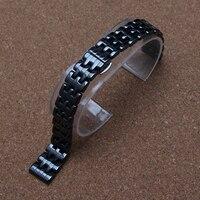 14 mét Tinh Khiết Gốm STRAP Watchband LẮC Đen đánh bóng Thẳng đồng hồ phụ kiện phù hợp với kim cương dress đồng hồ đeo tay ladys new
