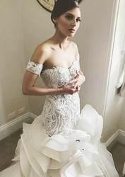 Vestido boda mujer модное свадебное платье из органзы с рюшами 2019 с открытыми плечами, свадебные платья с пуговицами на спине