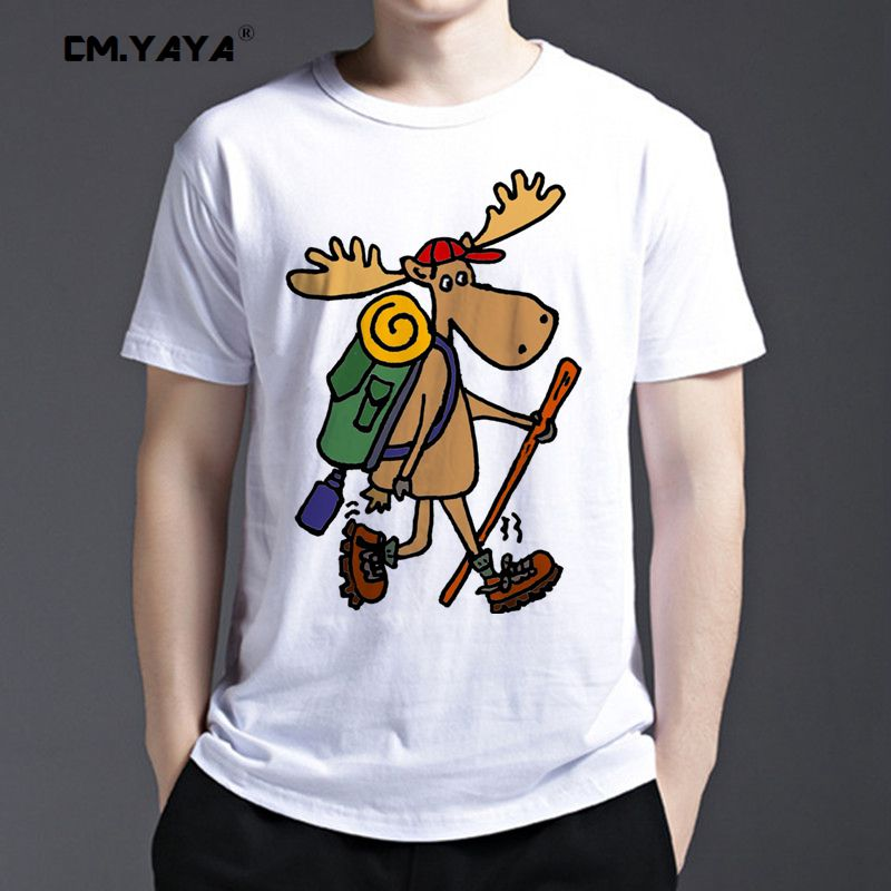 b3a161d2e8 YAYA Euro Size Men's T Shirts Cool Funny Moose Hike with Back pack print  fashion T Shirt O-Neck Casual Famous Tops Funny Tee