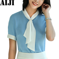 2018 Summer Fashion Ol Elegant Women Chiffon Blouses Short Sleeve Bow Tie Office Ladies Casual Shirt