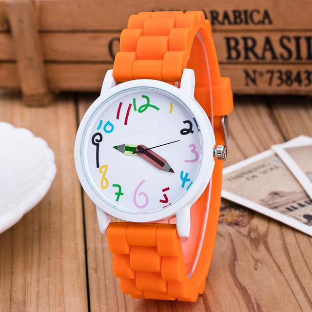 Newly Silicone Watches Children Pencil Pointer Student Watch Quartz Wristwatches
