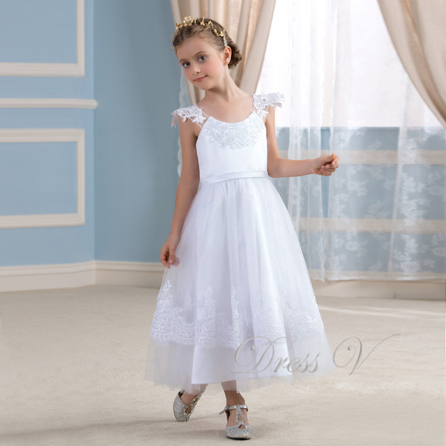 d8e004fbc8842 Cute White Lace Applique Flower Girl Dresses Ivory Holy Communion Dress  Girls Pageant Wedding Party Gowns Kids Frock Designs