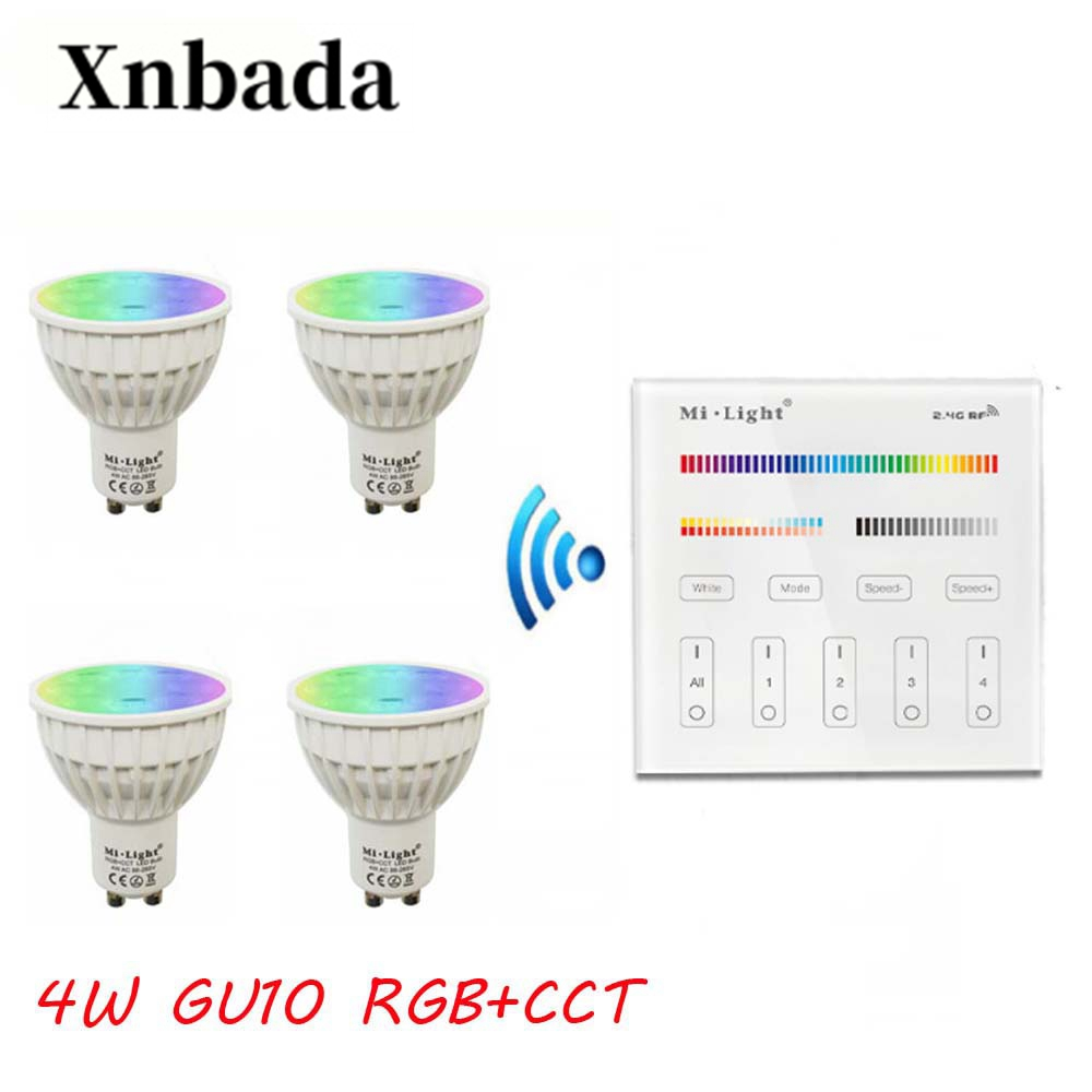 MiLight Led Lamp Gu10 4W RGB+CCT led bulb+B4(3V) Remote Control Led Spotlight Light Dimmable Led light AC85 265V Free Shipping