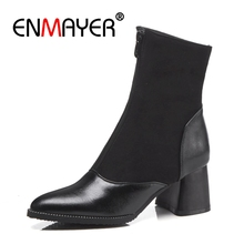 купить ENMAYER Women Ankle boots Pointed Toe High heels Short boots Autumn Winter boots Real Leather footwear shoes Thick heels CR1212 в интернет-магазине