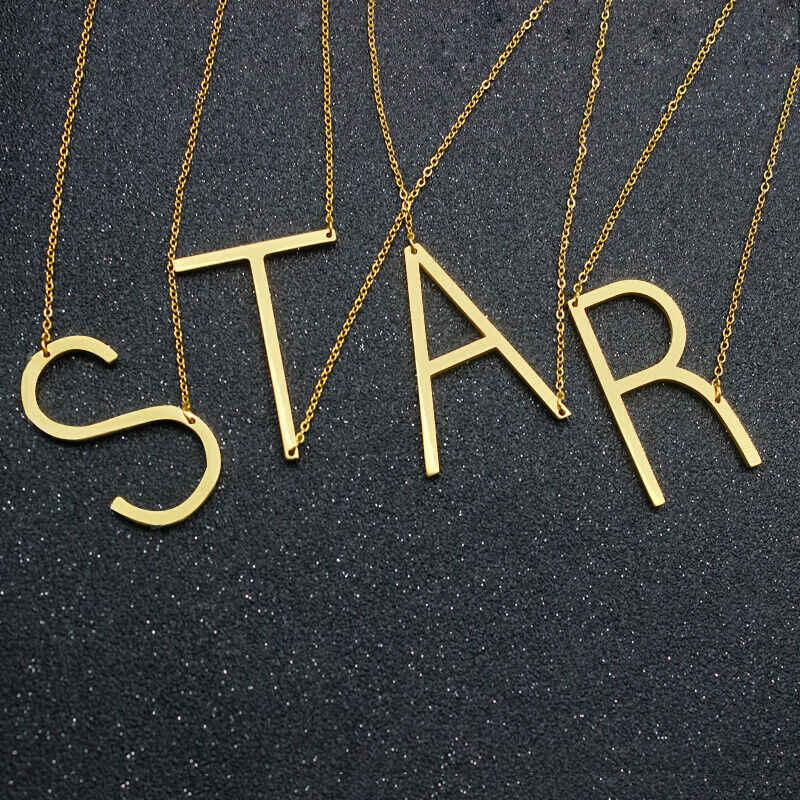 大初期ネックレス 100% ステンレス鋼ジュエリービッグ手紙ネックレス A-Z ゴールドパーソナライズネックレスモノグラムネックレスギフト