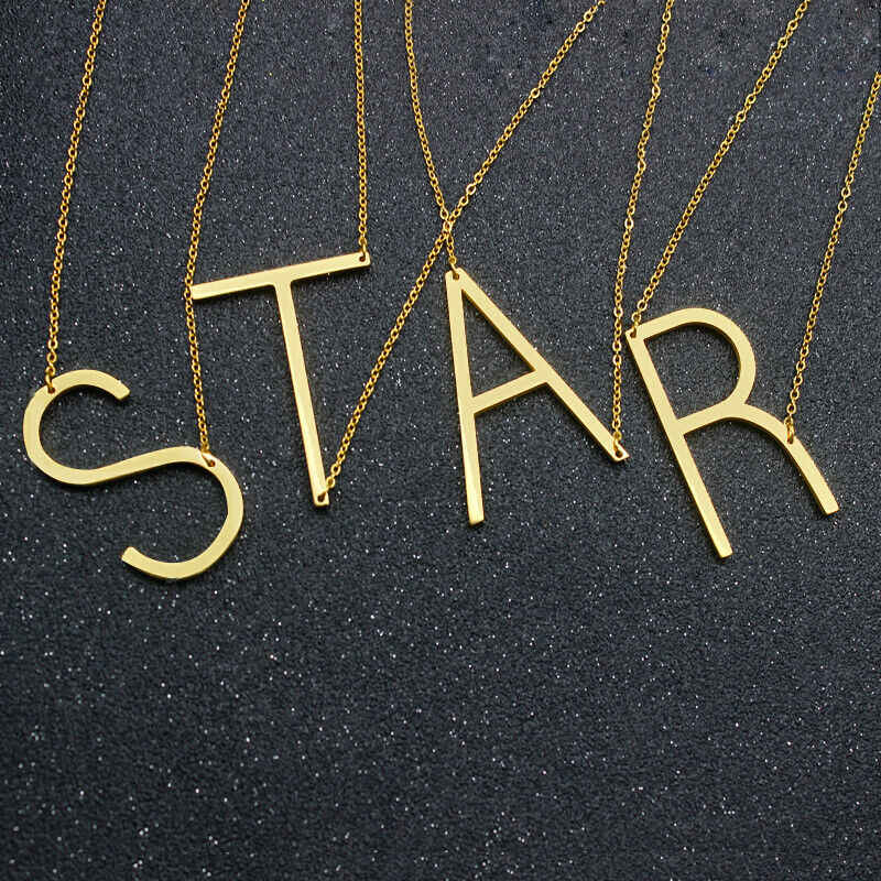 Grote Initiële Ketting 100% Roestvrij Stalen Sieraden Grote Brief Ketting A-Z Gouden Ketting Monogram Ketting Geschenken