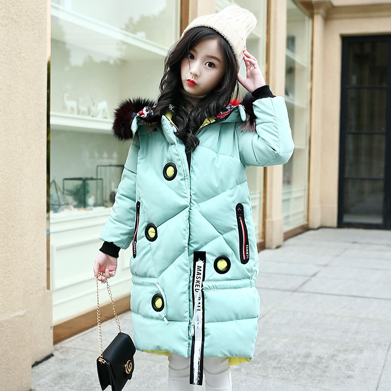 Children Outerwear Winter Jackets Coats Girls Overcoat Thickened Long Winter Cotton Jacket For Girls 6 8 10 12 14 Girl Parka