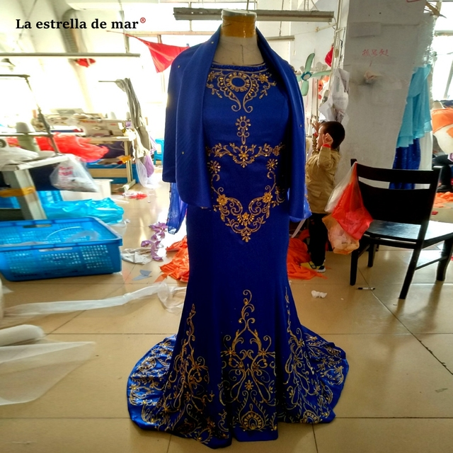 2018 new chiffon crystal long sleeved royal blue moroccan kaftan beautiful arabic evening gowns dresses longo de luxo