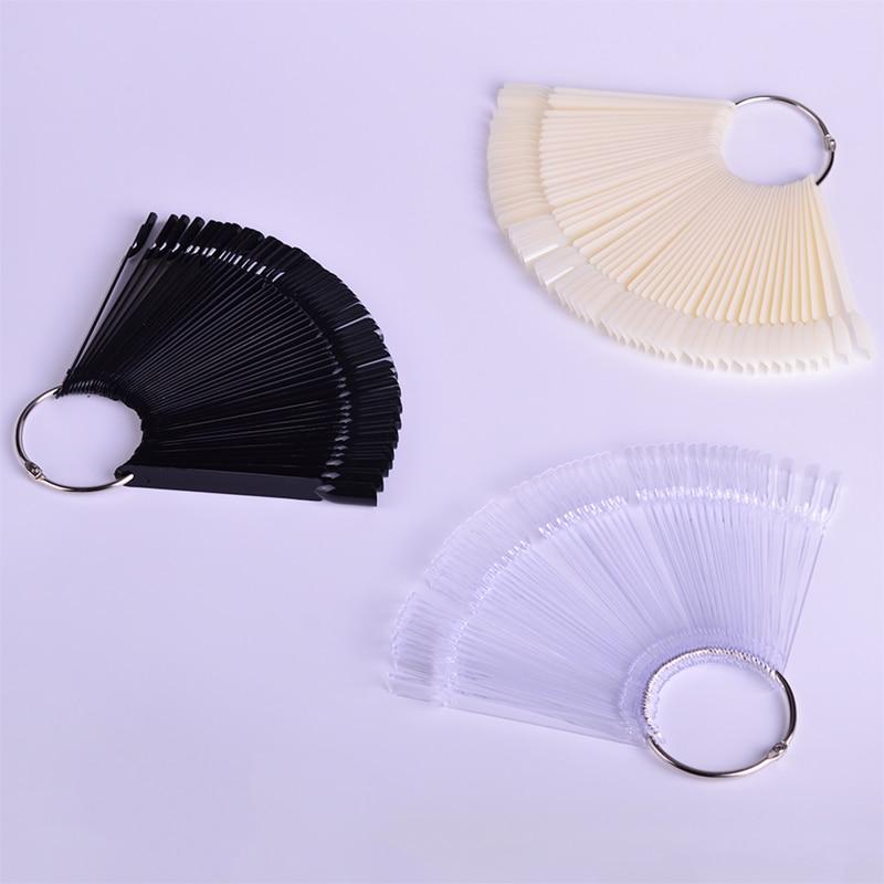 1 Набор накладных насадок для ногтей, натуральный прозрачный черный веер, на палец, полная карта, для дизайна ногтей, для практики, акриловый УФ-Гель-лак, инструмент для маникюра JI386
