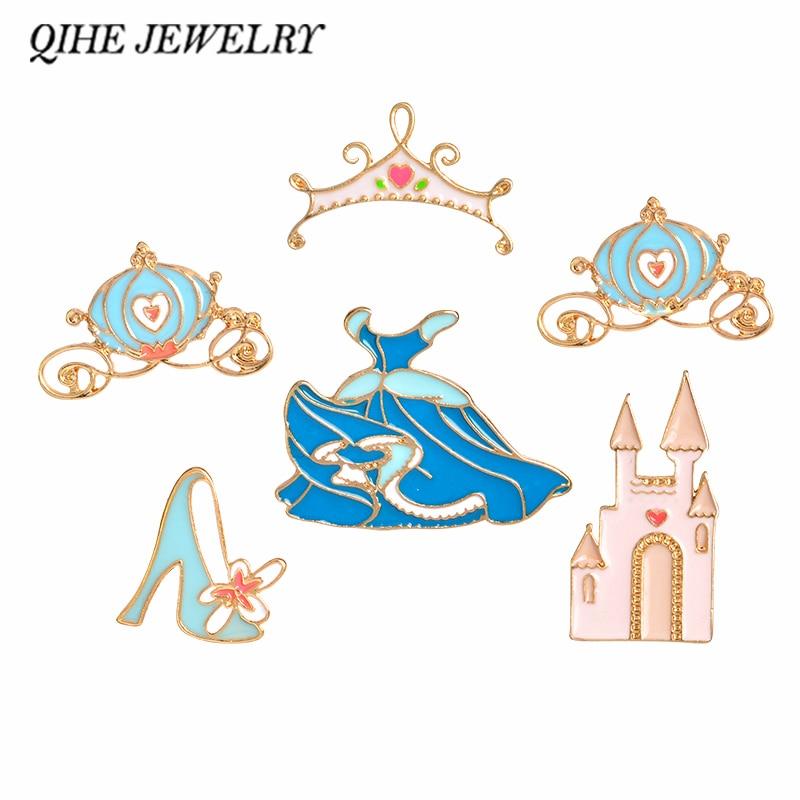 QIHE JEWELRY Brooches & pins Cinderella skirt palace pumpkin carriage crystal shoes crown princess dress pins blue badges