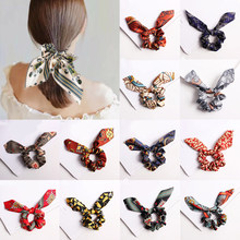 Fashion Flower Print Chiffon Scrunchie Elastic Hair Band Bow Hair Ropes Ladies Head Band Girls Hair Ties Women Hair Accessories(China)