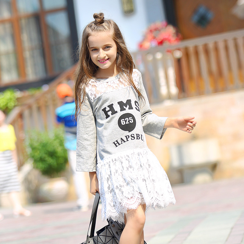 Baby girl dress Long sleeve Girls Dresses Lace Cotton Children Designer Kids 2017 Clothes Girl clothing Casual new Fashion Kids fashion kids baby girl dress clothes grey sweater top with dresses costume cotton children clothing girls set 2 pcs 2 7 years