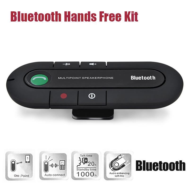font b 2018 b font Speakerphone Wireless Bluetooth Handsfree car speaker bluetooth Car Kit MP3