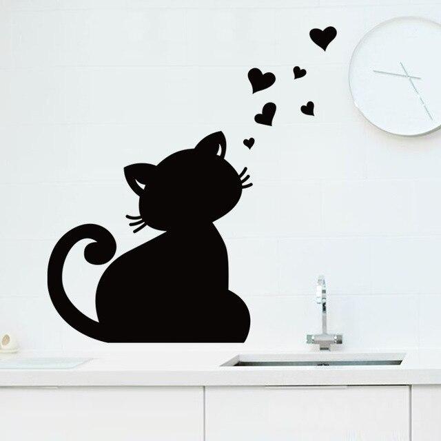 Cute cat love diy chalkboard wall sticker blackboard for tv sofa background living room kid