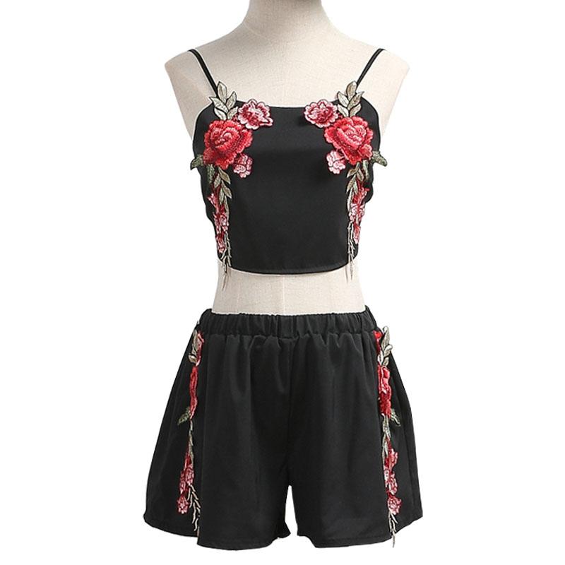 HTB1161kRVXXXXcPaXXXq6xXFXXXQ - Women Floral Embroidery Vintage Crop Top Shorts Set Skirt PTC 164