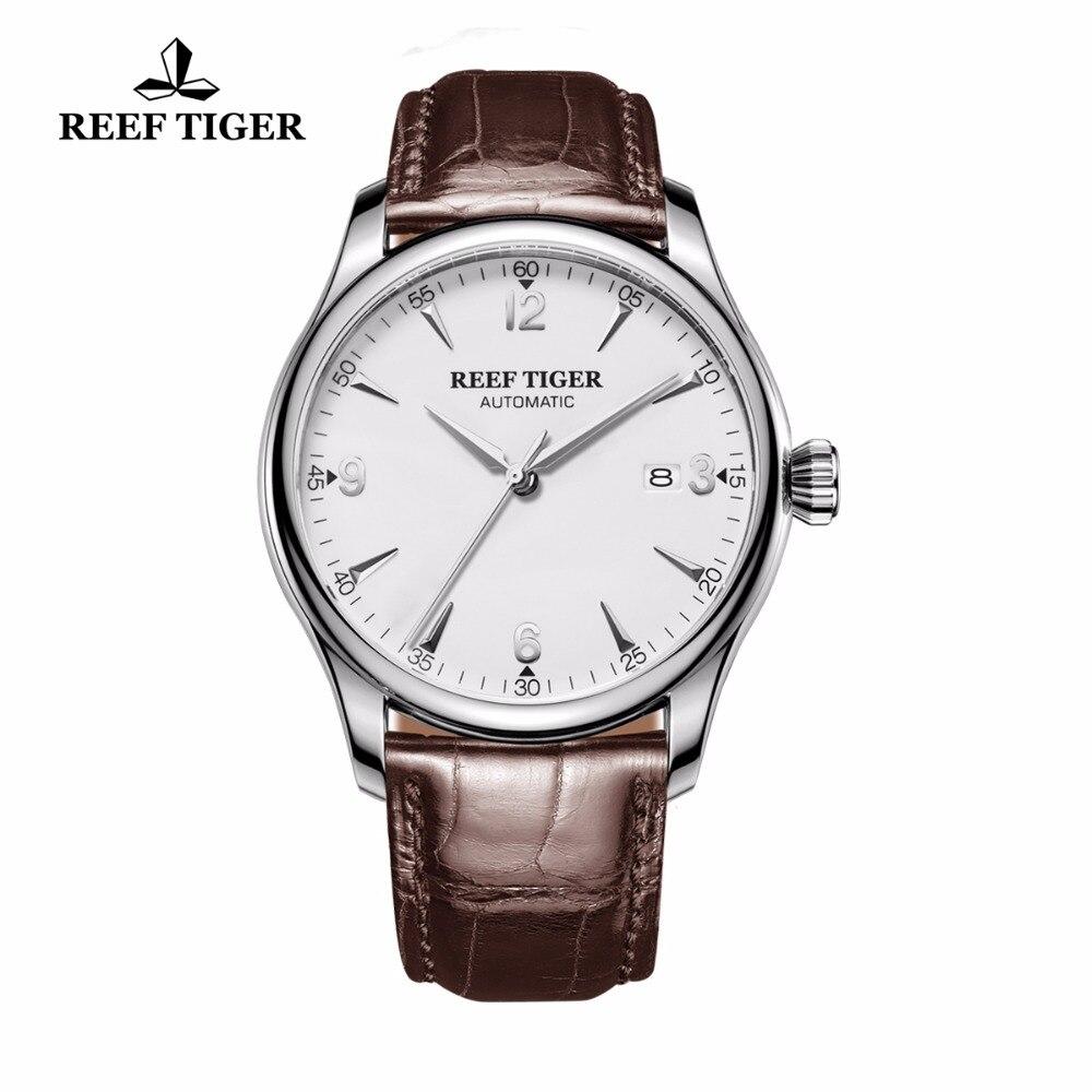 Récif Tigre/RT De Luxe D'affaires Hommes Montres En Acier Bracelet En Cuir Brun Montre Date Mécanique Analogique Montres RGA823G