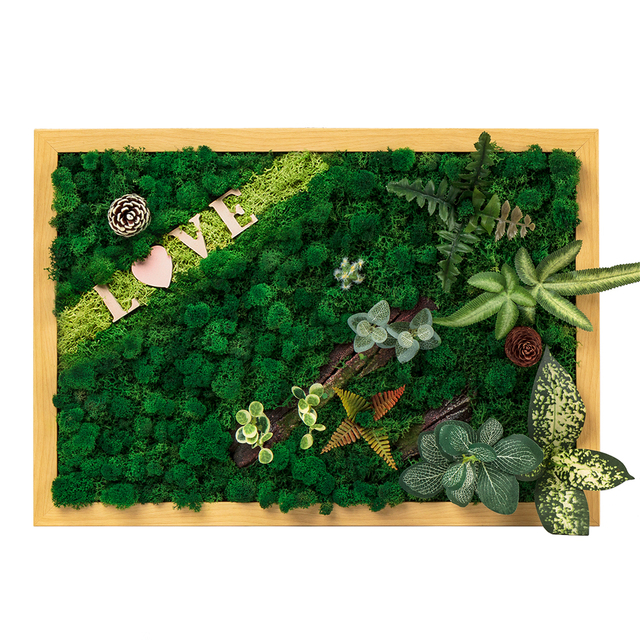New Style Nordic 3d Real Immortal Moss Plant Wall Decor Wall Art Modular Painting Decorative Wall Pictures For Living Room