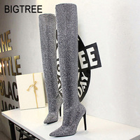BIGTREE Women Boots New Women High Heel Shoes Fashion Over the Knee Boots Thigh High Boots Sexy Stretch Long Boots Winter