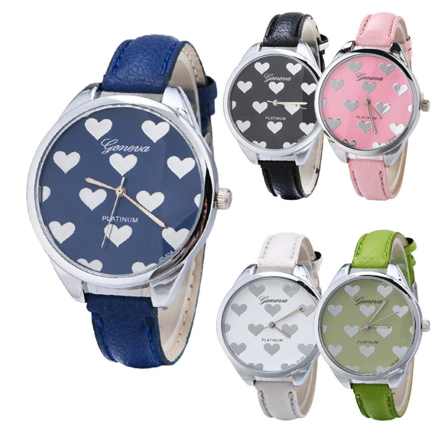SmileOMG New Watch Fashion Women Watches Leather Band Heart-shaped Alloy Dial Quartz Wrist Watch Christmas Gift,Aug 26