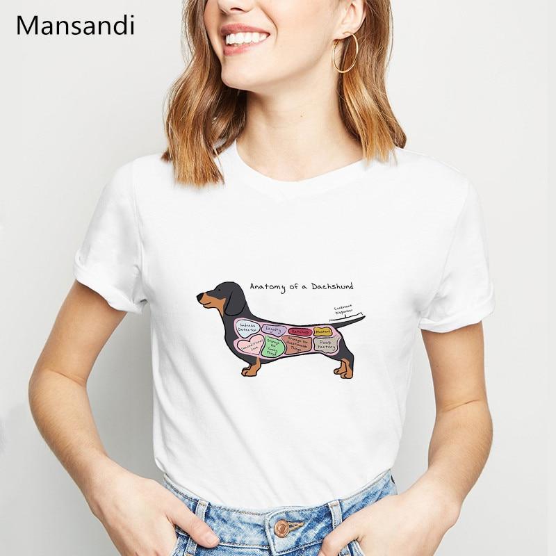 Анатомия таксы принт футболка женская одежда 2019 Забавные футболки femme dog lover летние топы Женская футболка уличная