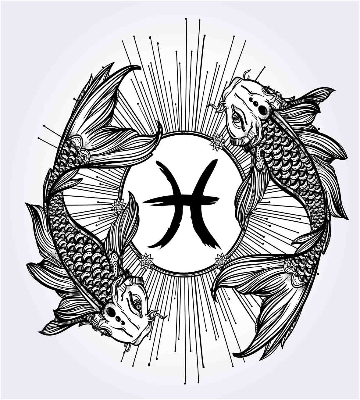 Duvet Cover Set Sketch Of Pisces Sign With Fishes Constellation Boundaries Analysis Symbol Artwork Decor 4 Piece Bedding In Sets From Home