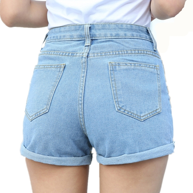 New Casual Fashion Blue Jeans 2017 Plus Size 26-32 Summer High Waist Casual Jeans Denim Shorts For Women Short Jeans