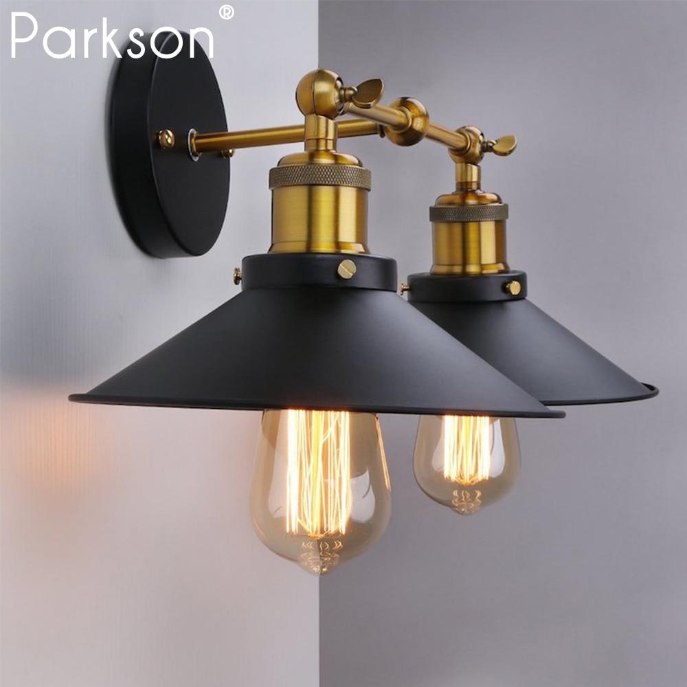 Bedroom Lamps Black: Vintage Retro Wall Lamp Black Industrial Decor Wandlamp