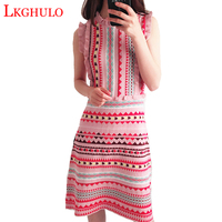 High Quality Italian 2018 Summer New Knitting Dress Women's Rainbow Colour Striped Short Sleeve Bohemian Dresses S M L A701