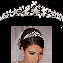 Роскошная свадебная корона дешевая но Высококачественная с блестящими бусинами кристаллы Королевские Свадебные короны жемчуг вуаль головная повязка, аксессуары для волос