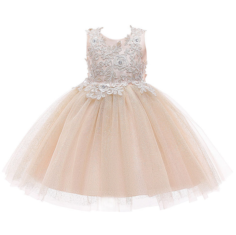6264 Golden Embroidery Lace Princess Baby Girl Dress 2019New Summer Wedding Party Kid Dress For Girl