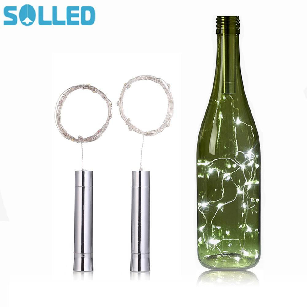 цена SOLLED AA Battery Power Bottle Lights 1.5M 15LEDs String Lights Fairy for Bistro Wine Bottle Bar Decoration Party Valentine онлайн в 2017 году