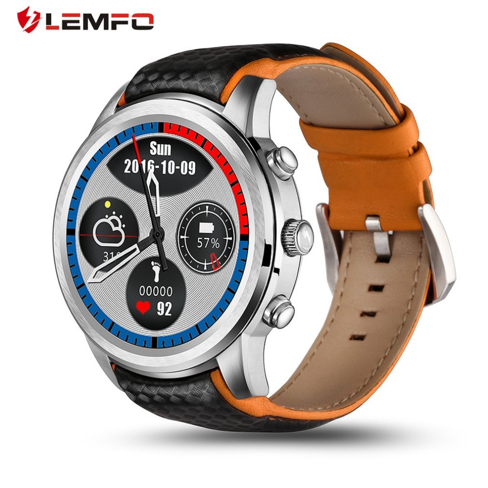 Smart Watch Men  GPS Sport Track LEM5 Smartwatch Phone Android 1GB + 8GB WiFi Wristwatch 3G Heart Rate Monitor Support SIM Card android 5 1 smartwatch x11 smart watch mtk6580 with pedometer camera 5 0m 3g wifi gps wifi positioning sos card movement watch