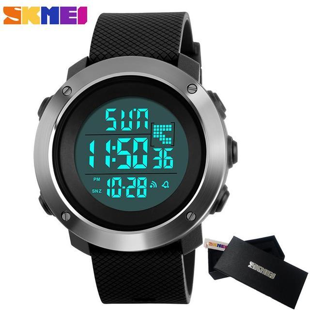 2018 SKMEI модные женские туфли Спортивные часы Для мужчин цифровой LED электронные часы человек Военная Униформа Водонепроницаемый часы Для мужчин Relogio Masculino