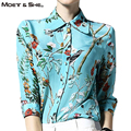 High Quality Spring Womens Blosue Floral Print Slim Casual Chiffon Blouses Shirt Tops Womens Clothes Plus Size T67338R
