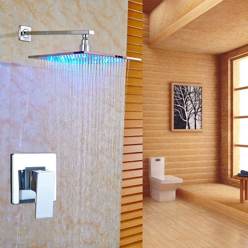 цена на Newly Wall Mount Chrome Finished 8 LED Rainfall Shower Faucet Set Single Handle Mixer Tap