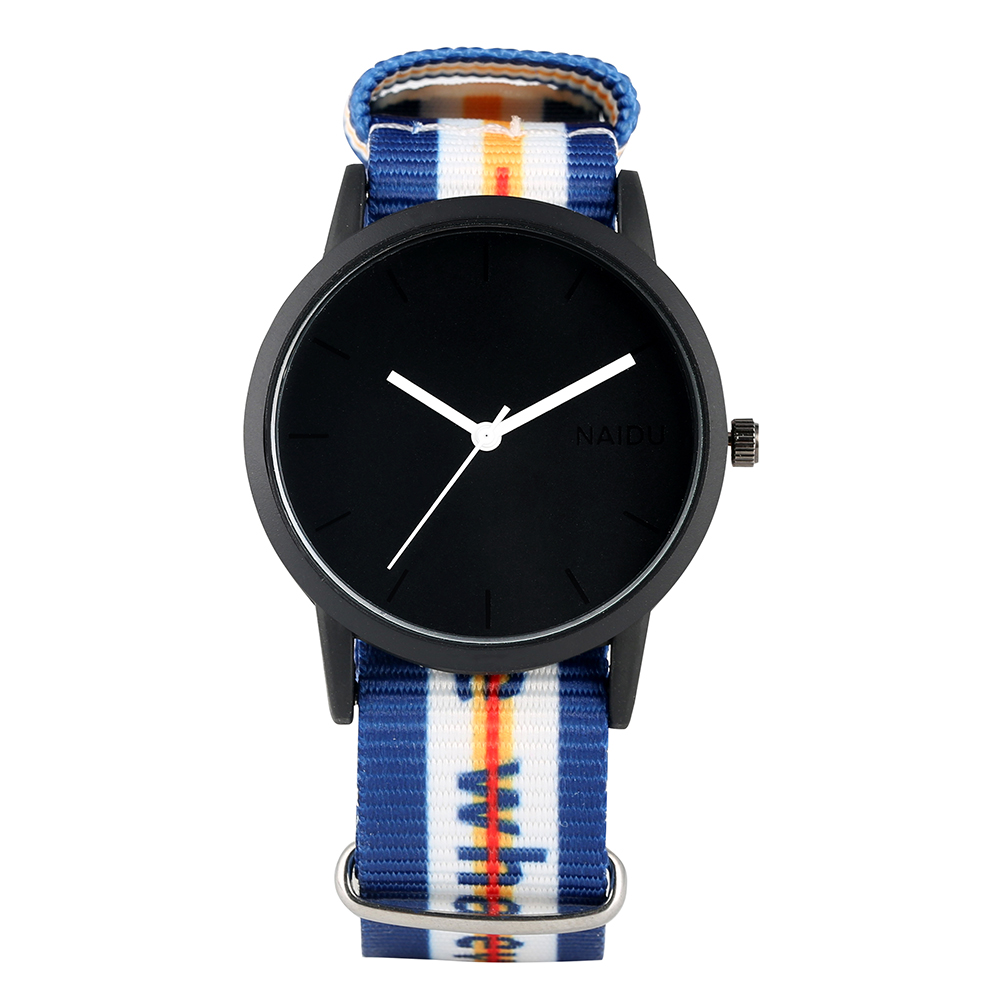 Stylish Quartz Analog Watch For Men Classic Black Dial Watches For Teenager Nylon Strap Wristwatch Gift For Girlfriend