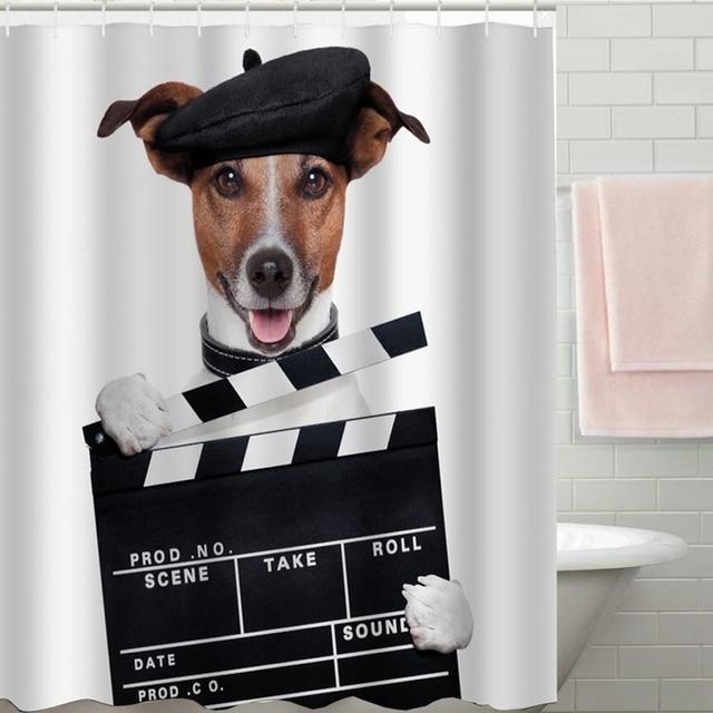180 180cm Dog Bathroom Shower Curtain Waterproof 12 Free Hooks Decor