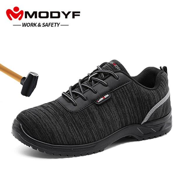 MODYF/Мужская Рабочая обувь с комбинированным носком легкая дышащая Антистатическая стелька, светоотражающие Нескользящие повседневные кроссовки