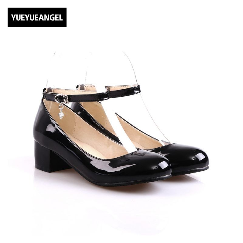 janes story ja025bwhed31 Mary Janes Shoes Patent Leather Round Toe Buckle Strap Autumn New Fashion Pumps Female Footwear Womens Shoes Sweet Plus Size
