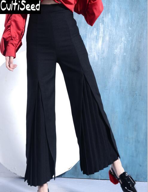 Cintura Delgado Trabajo Longitud De Alta Black Vintage Mujer Split Tobillo Elegante Del Pantalones Anchos Mujeres Plisado Oficina pZwdHqw