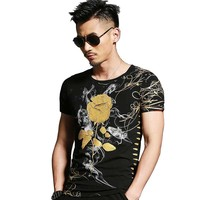 Chinese Style New Fashion Rose Stamping 3D Floral Printed T Shirt Men Casual Tshirt Slim Fit O Neck Short Sleeve T shirt Tops