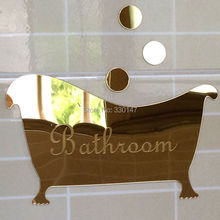 Bathroom Entrance Sign Acrylic Mirror Surface Door / Wall Sticker Shop Office Home Cafe Hotel Decoration FREE SHIPPING