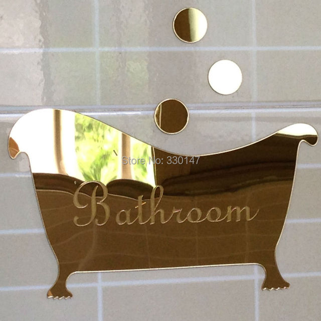 Bathroom Entrance Sign Acrylic Mirror Surface Door / Wall Sticker ...