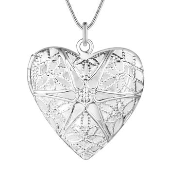 Best Selling Fashion Pendant Heart Locket Plate Charm Necklace silver 13styles Cheap wholesale bulk album for picture locket