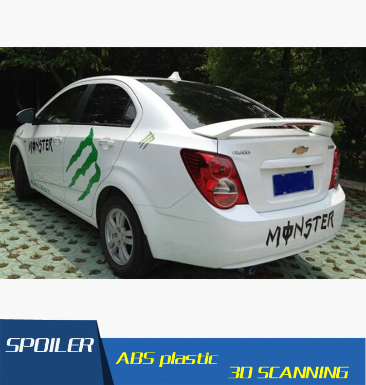 For Aveo Spoiler ABS Material Car Rear Wing Primer Color Rear Spoiler Press the tail For Chevrolet Aveo Spoiler 2010 2013|rear spoiler|rear wing|spoiler rear - title=