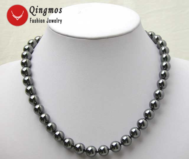 Qingmos 10MM Round Black Natural Magnetic Hematite Gem Stone Beads 18 Chokers Necklace for Women Fine Jewelry collares nec2307