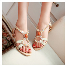Summer New Shoes Bohemian Diamond Popular Ladies Wild Beaded Elegant Casual Sandals Blue, Gold