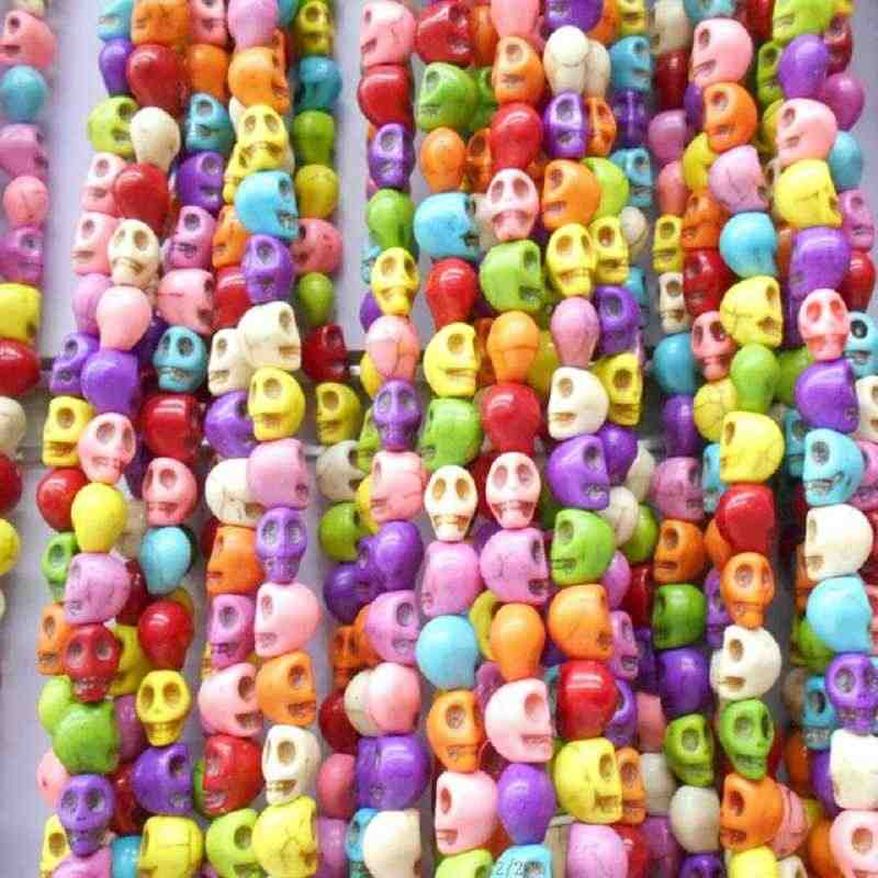 DIY 8mm 50pcs/lot Cheap Beads Colorful Skull Natural Stones Round Spacer Loose Beads For Necklace Bracelet Charms Jewelry Making