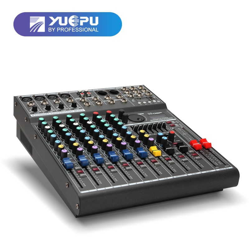 YUEPU RU-8T Pro Sound Audio Mixer Professional 8 Channel 48V Phantom Power Reverbration Mixing Console Player USB DSP FX Effects leory professional 8 channel karaoke audio mixer console digital microphone sound mixing amplifier with usb 48v phantom power