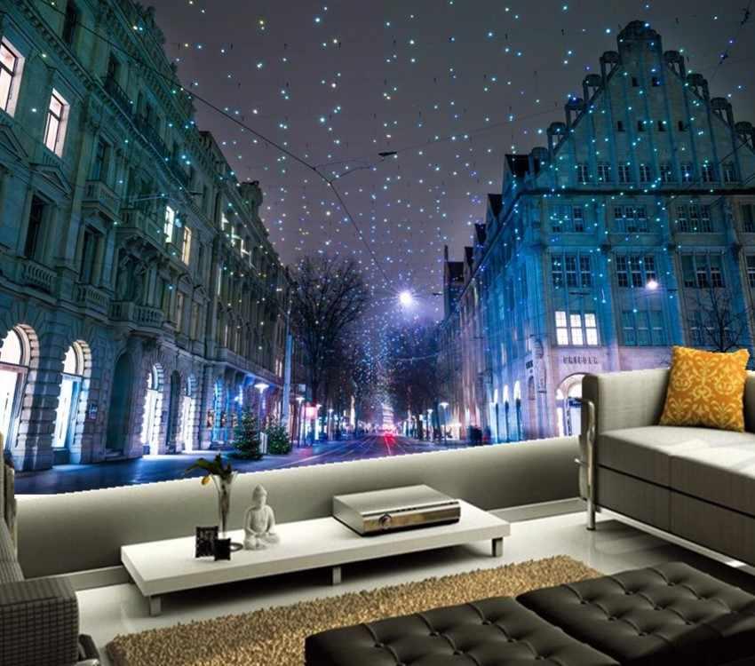 ที่กำหนดเอง3dภาพจิตรกรรมฝาผนัง,วิตเซอร์แลนด์บ้านฤดูหนาวคริสต์มาสถนนคืนวอลล์เปเปอร์,ห้องนั่งเล่นโซฟาทีวีผนังห้องนอนกระดาษde parede